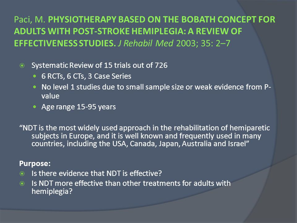 Paci, M. PHYSIOTHERAPY BASED ON THE BOBATH CONCEPT FOR ADULTS WITH POST-STROKE HEMIPLEGIA: A REVIEW OF EFFECTIVENESS STUDIES. J Rehabil Med 2003; 35: 2–7