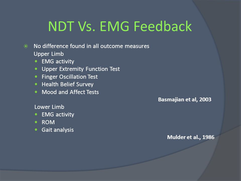 NDT Vs. EMG Feedback No difference found in all outcome measures