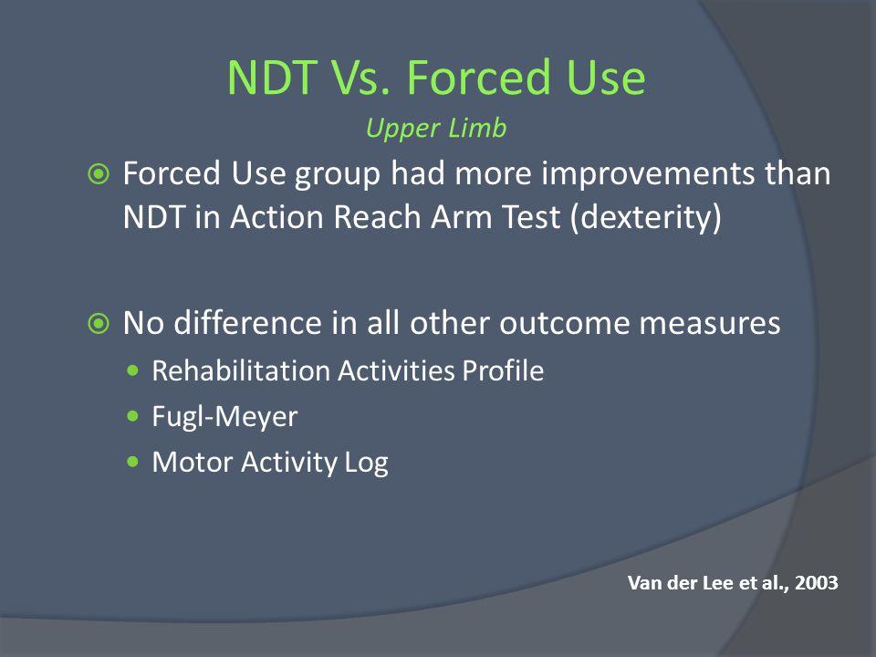 NDT Vs. Forced Use Upper Limb