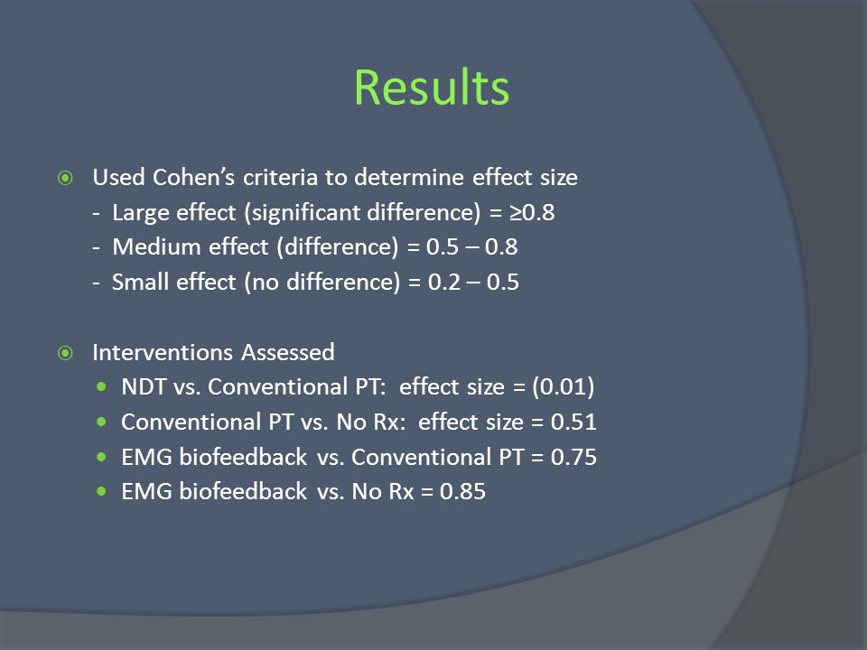 Results Used Cohen's criteria to determine effect size