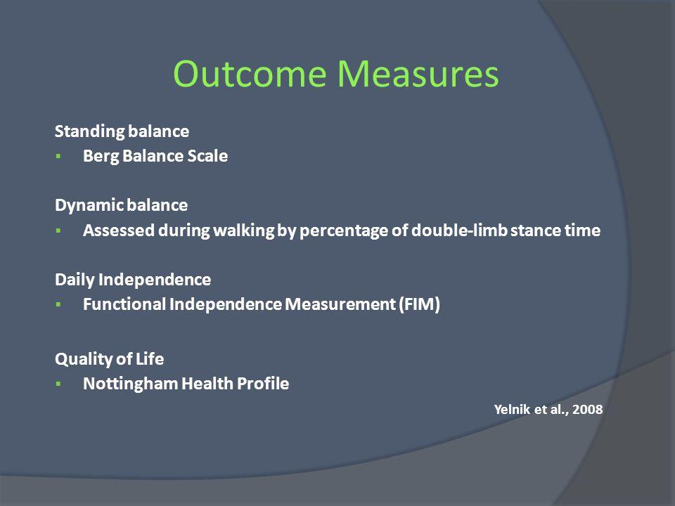 Outcome Measures Standing balance Berg Balance Scale Dynamic balance