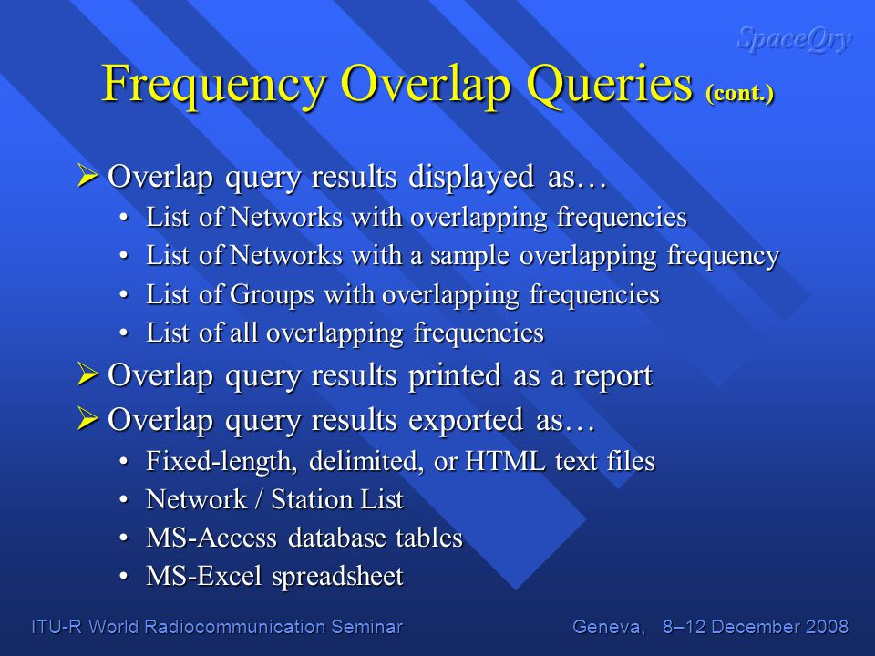 Frequency Overlap Queries (cont.)
