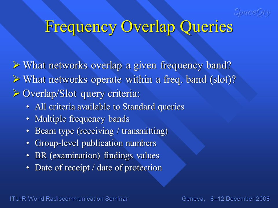 Frequency Overlap Queries