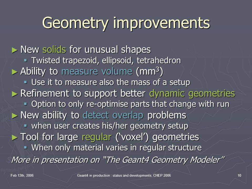 Geometry improvements