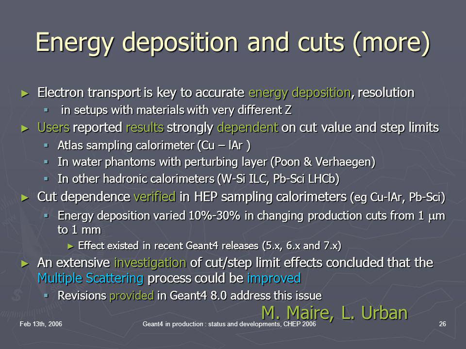 Energy deposition and cuts (more)
