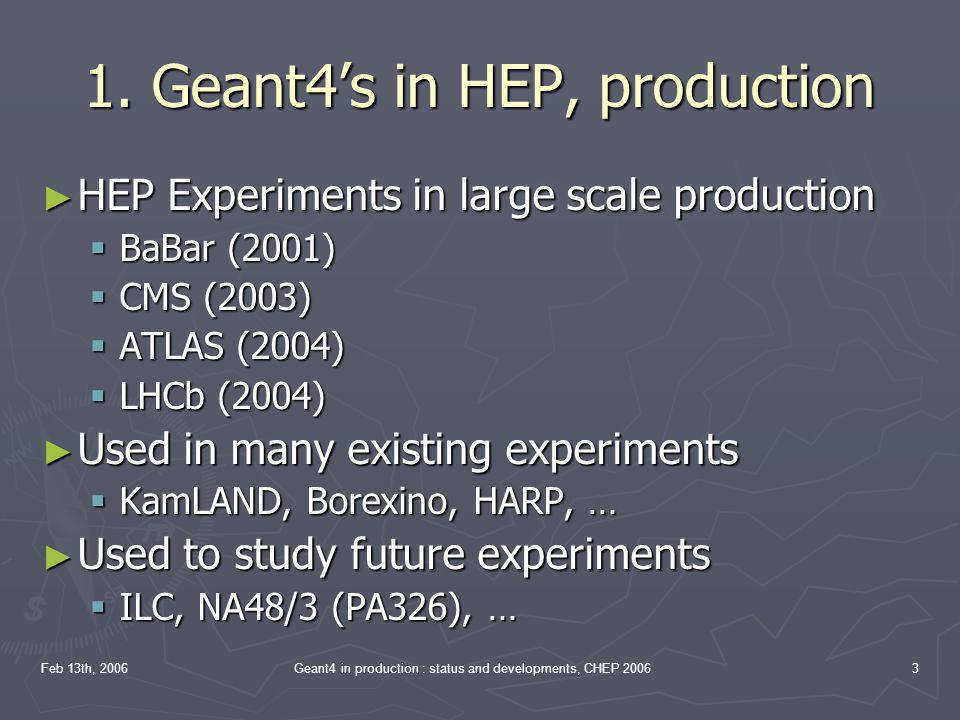 1. Geant4's in HEP, production