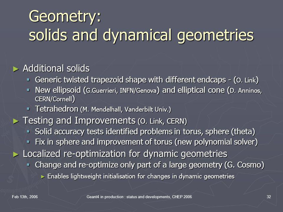 Geometry: solids and dynamical geometries