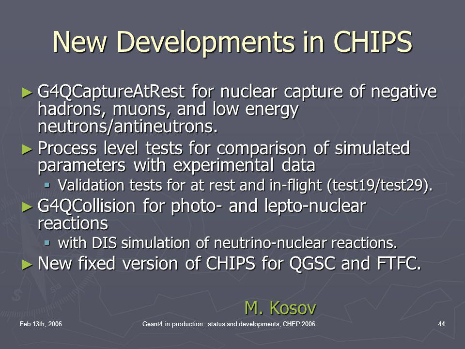 New Developments in CHIPS