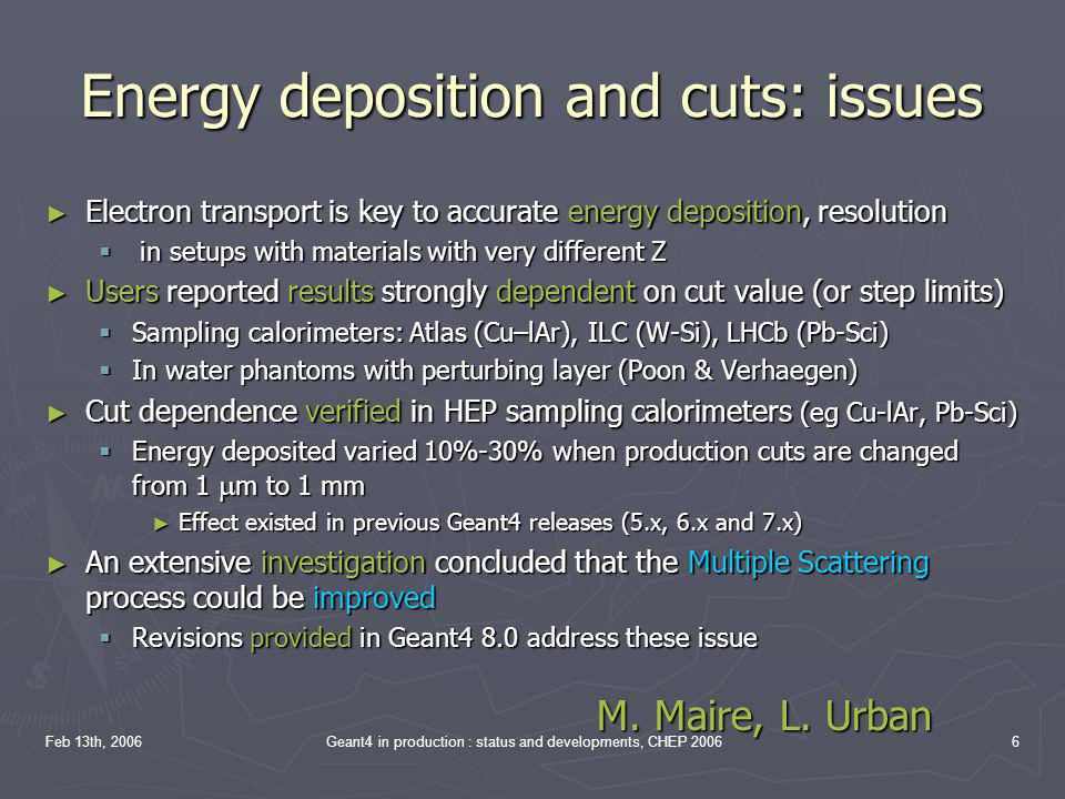 Energy deposition and cuts: issues