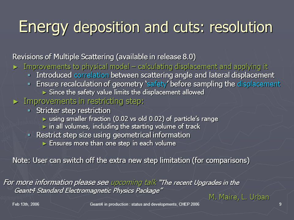 Energy deposition and cuts: resolution