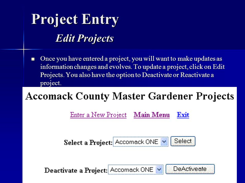 Project Entry Edit Projects