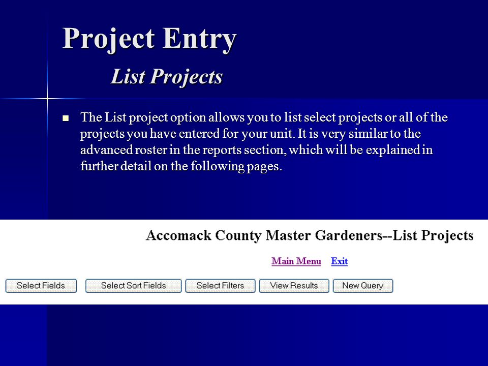Project Entry List Projects