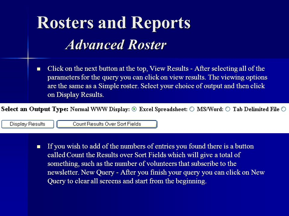 Rosters and Reports Advanced Roster