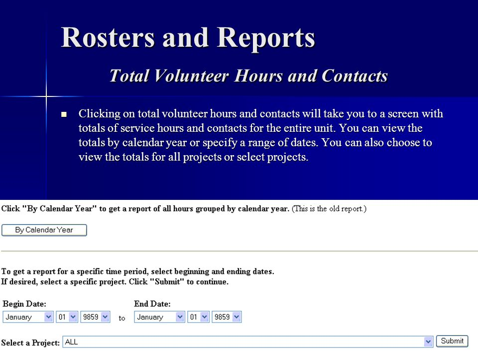 Rosters and Reports Total Volunteer Hours and Contacts