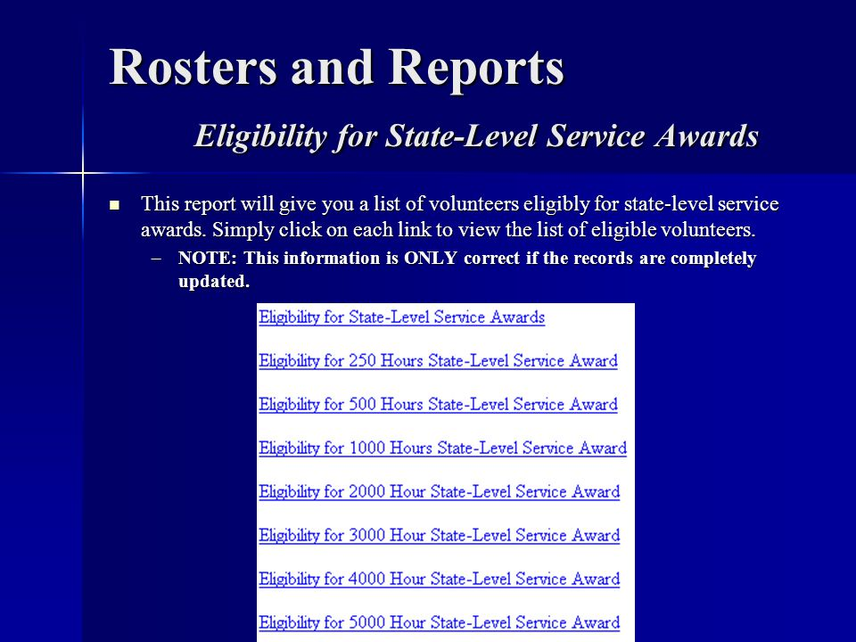 Rosters and Reports Eligibility for State-Level Service Awards