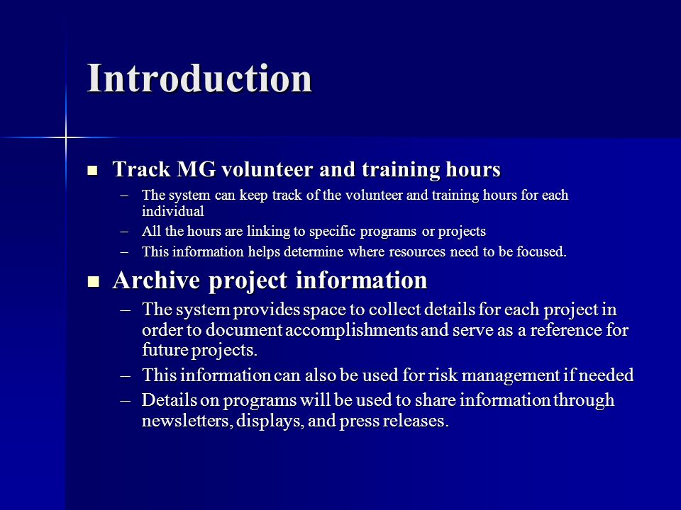 Introduction Archive project information