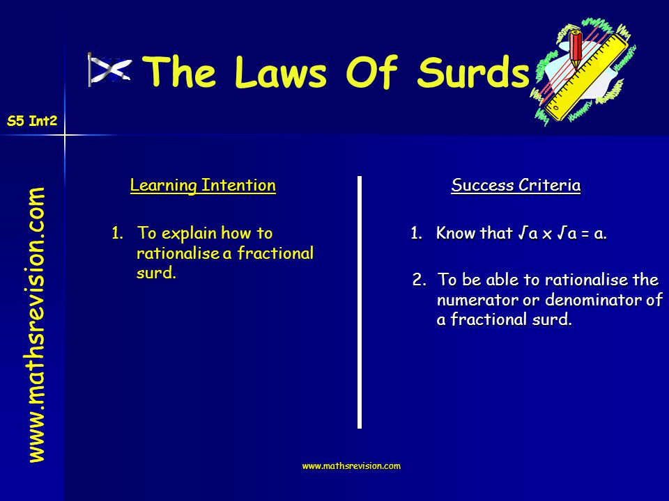 The Laws Of Surds www.mathsrevision.com Learning Intention