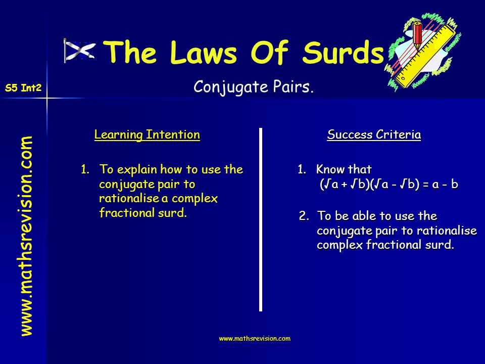 The Laws Of Surds www.mathsrevision.com Conjugate Pairs.