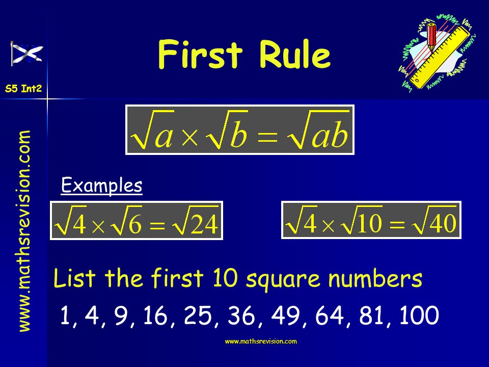 First Rule List the first 10 square numbers