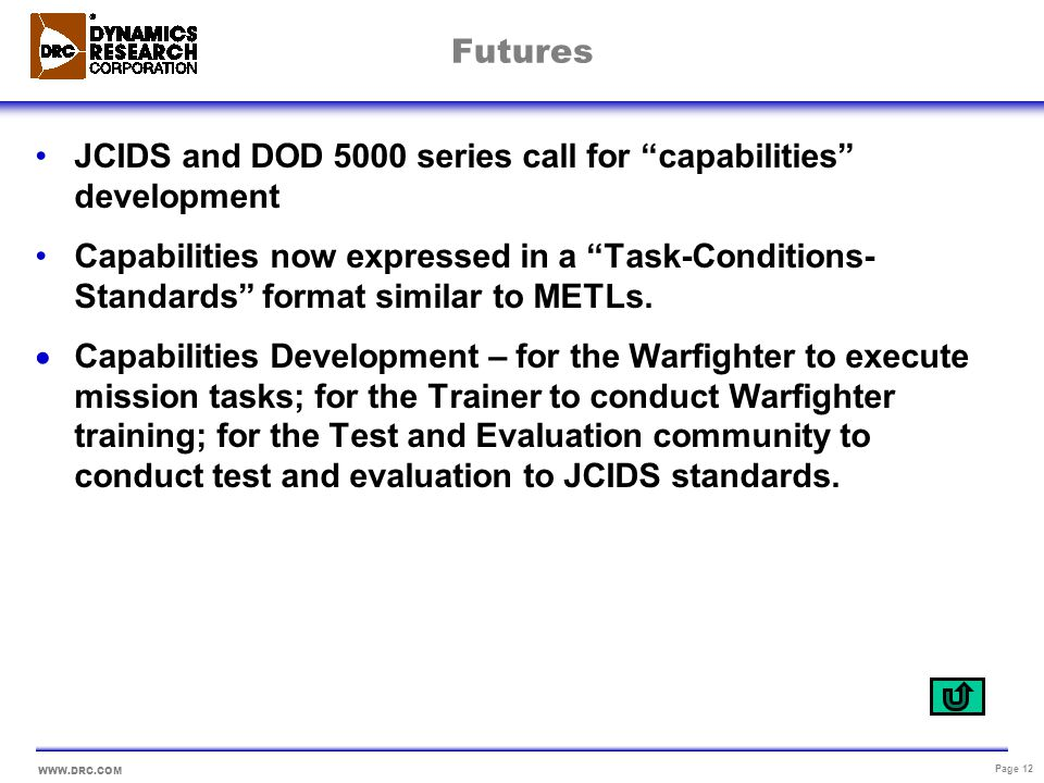 Futures JCIDS and DOD 5000 series call for capabilities development.
