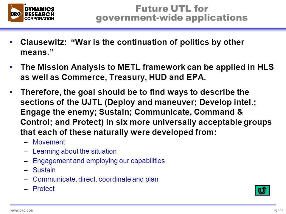 Future UTL for government-wide applications