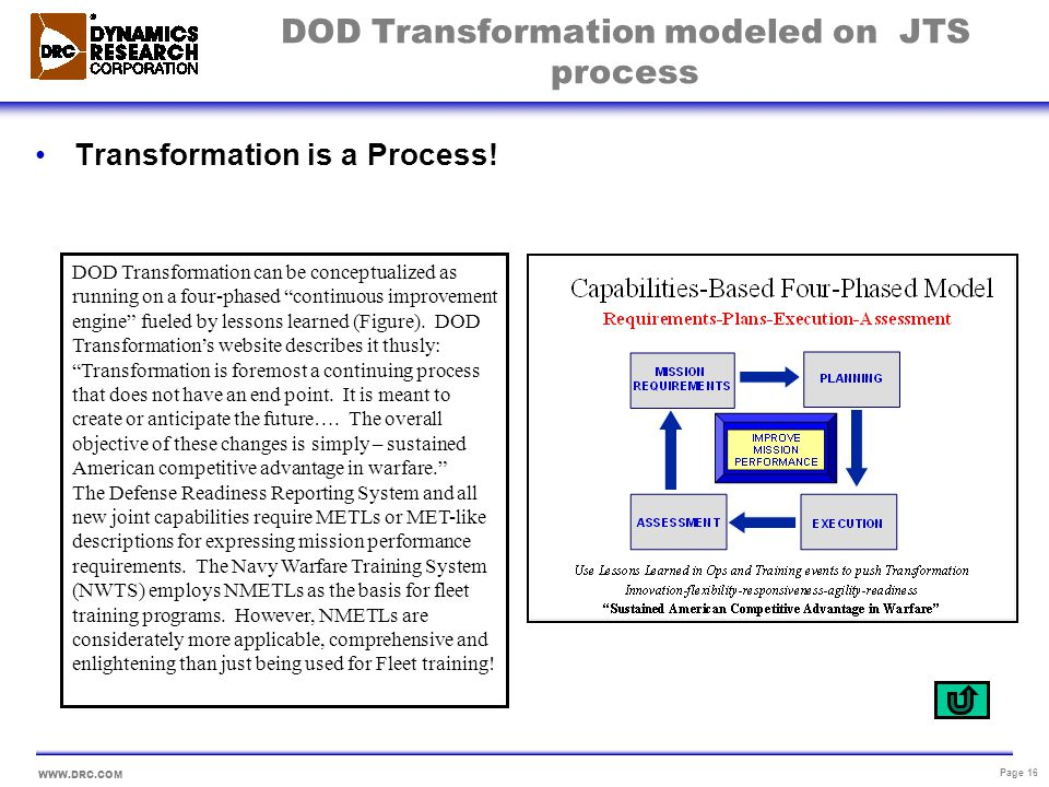 DOD Transformation modeled on JTS process