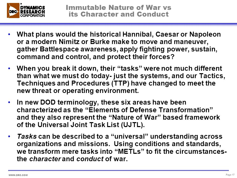 Immutable Nature of War vs its Character and Conduct