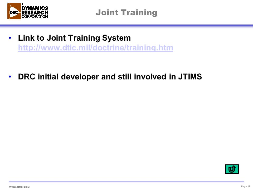 Joint Training Link to Joint Training System http://www.dtic.mil/doctrine/training.htm.