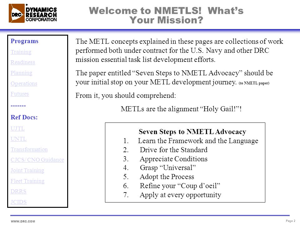 Welcome to NMETLS! What's Your Mission