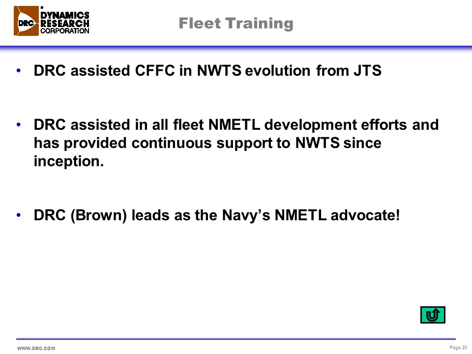 Fleet Training DRC assisted CFFC in NWTS evolution from JTS.