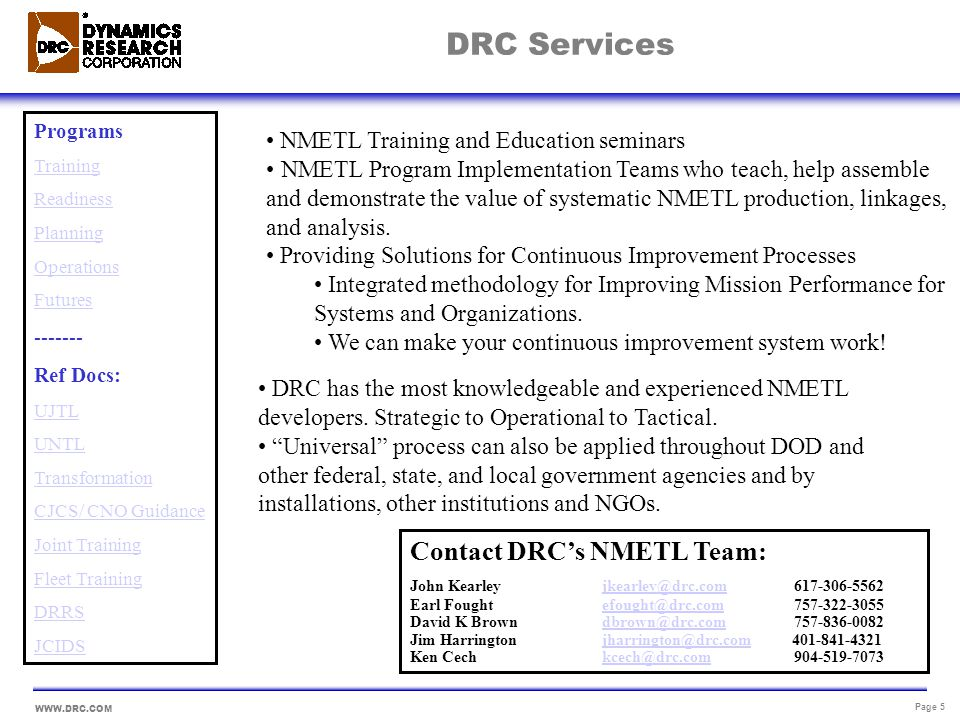 DRC Services Contact DRC's NMETL Team: