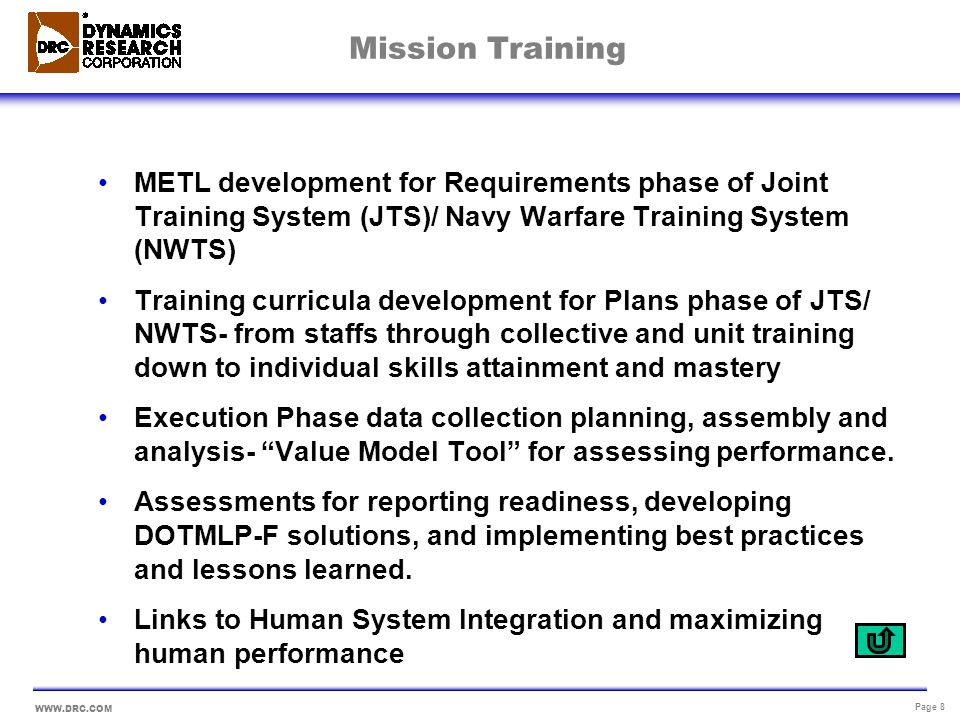 Mission Training METL development for Requirements phase of Joint Training System (JTS)/ Navy Warfare Training System (NWTS)