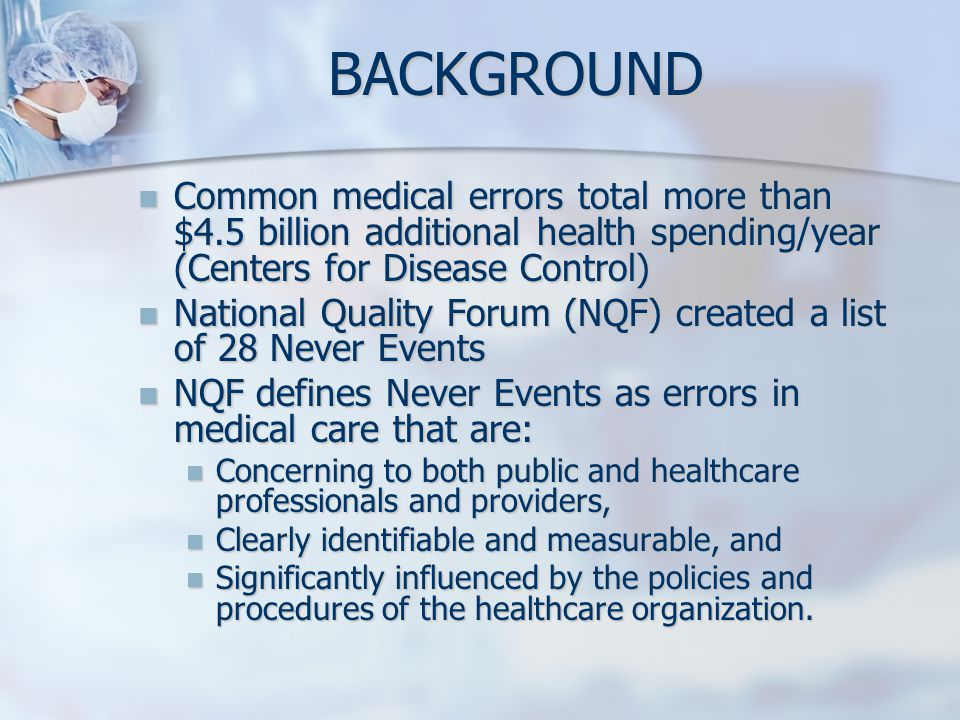 BACKGROUND Common medical errors total more than $4.5 billion additional health spending/year (Centers for Disease Control)