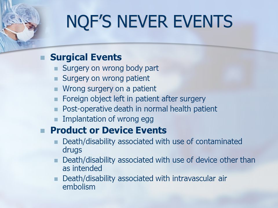 NQF'S NEVER EVENTS Surgical Events Product or Device Events