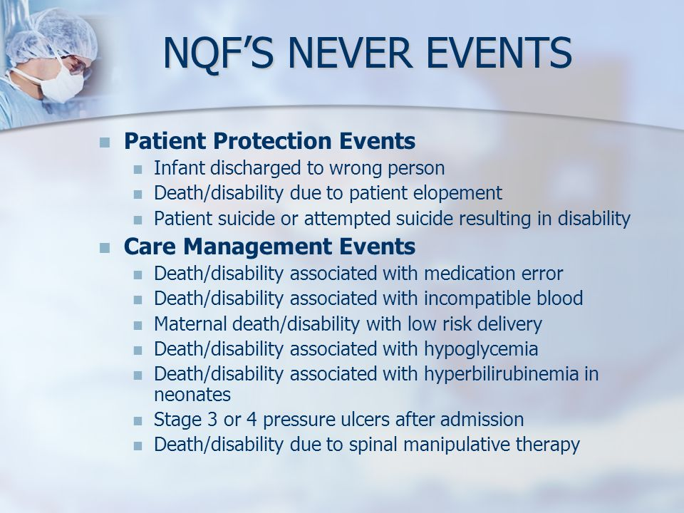 NQF'S NEVER EVENTS Patient Protection Events Care Management Events