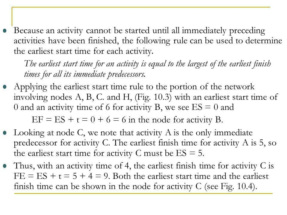 EF = ES + t = 0 + 6 = 6 in the node for activity B.