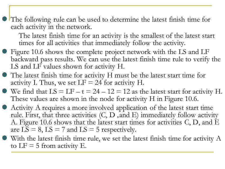The following rule can be used to determine the latest finish time for each activity in the network.