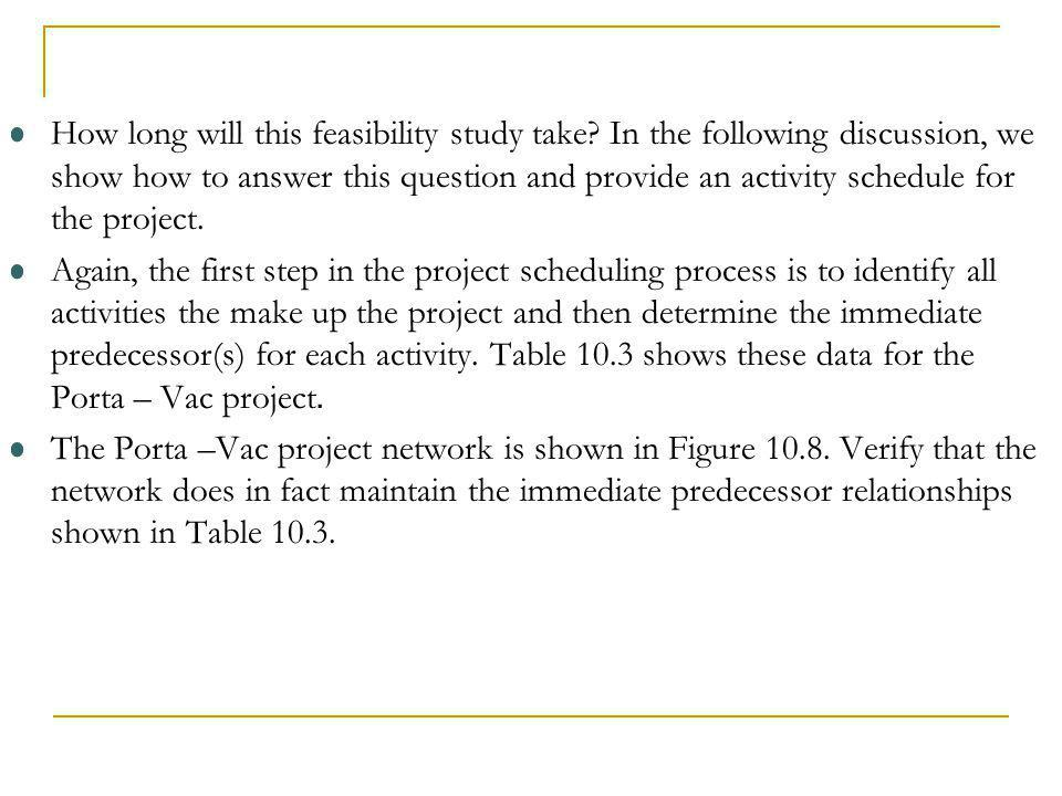 How long will this feasibility study take