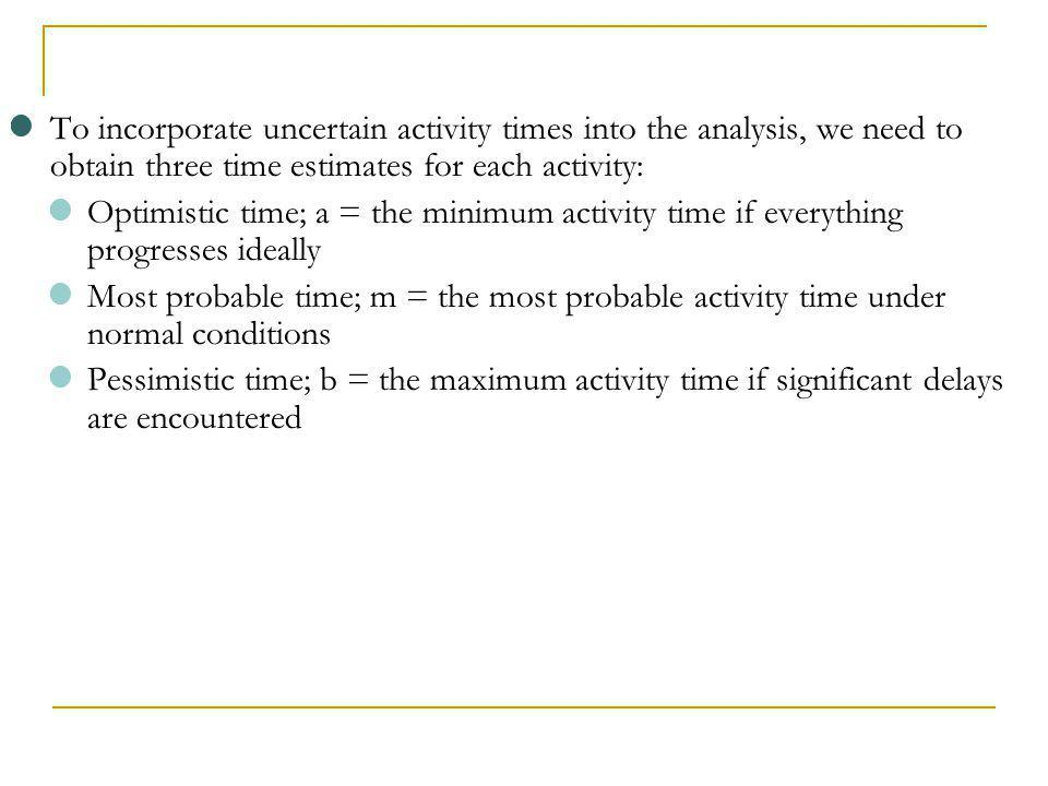 To incorporate uncertain activity times into the analysis, we need to obtain three time estimates for each activity: