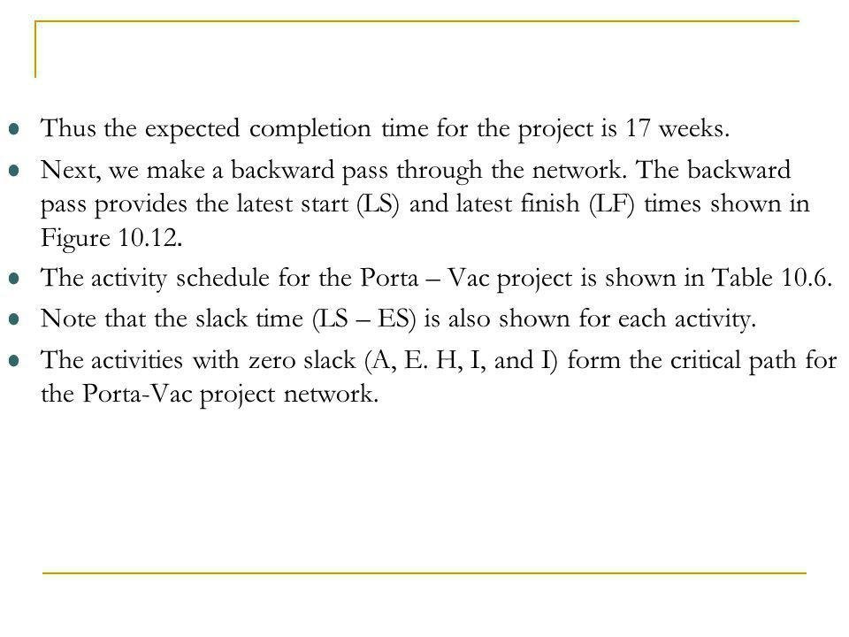Thus the expected completion time for the project is 17 weeks.