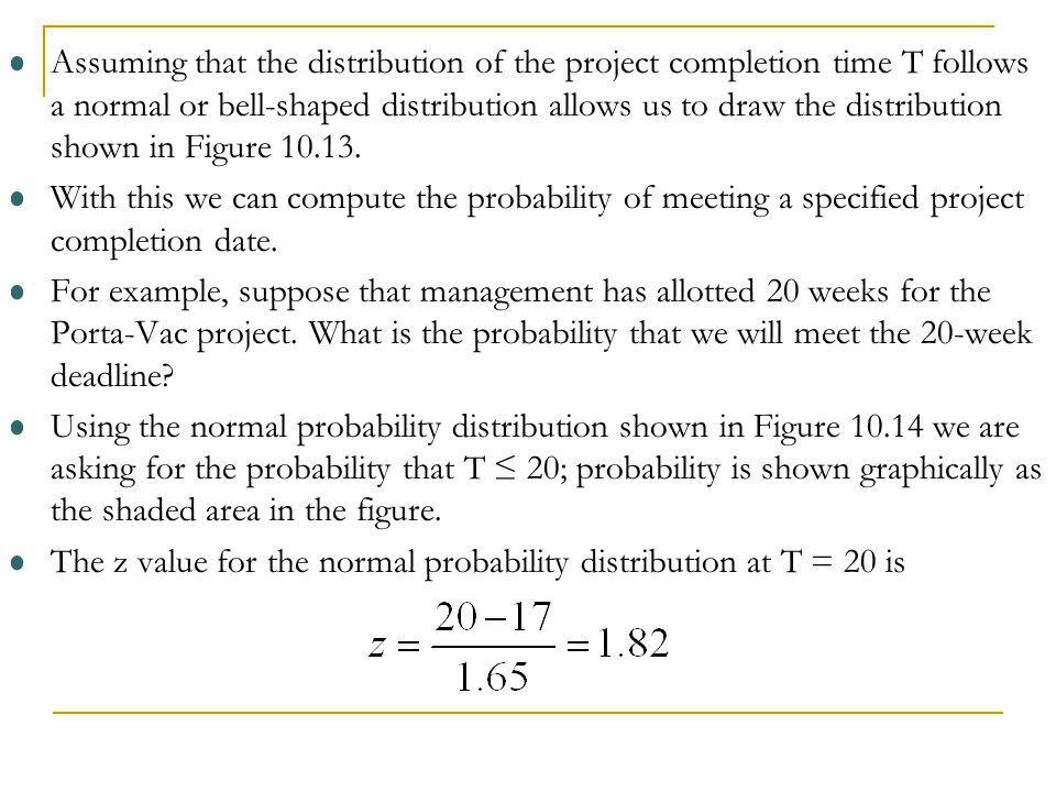 Assuming that the distribution of the project completion time T follows a normal or bell-shaped distribution allows us to draw the distribution shown in Figure 10.13.