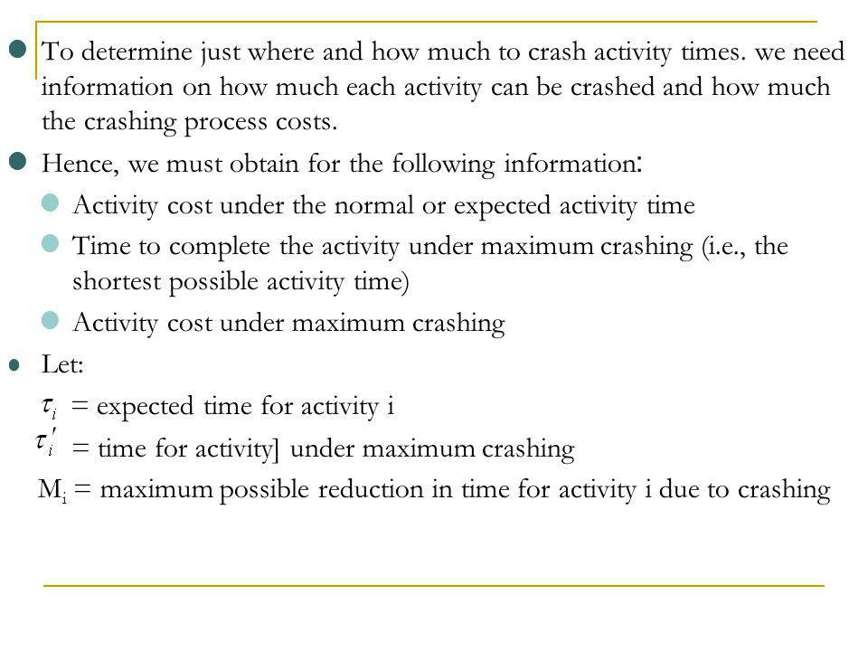 To determine just where and how much to crash activity times