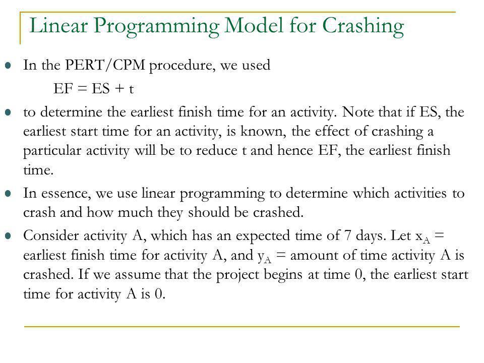 Linear Programming Model for Crashing