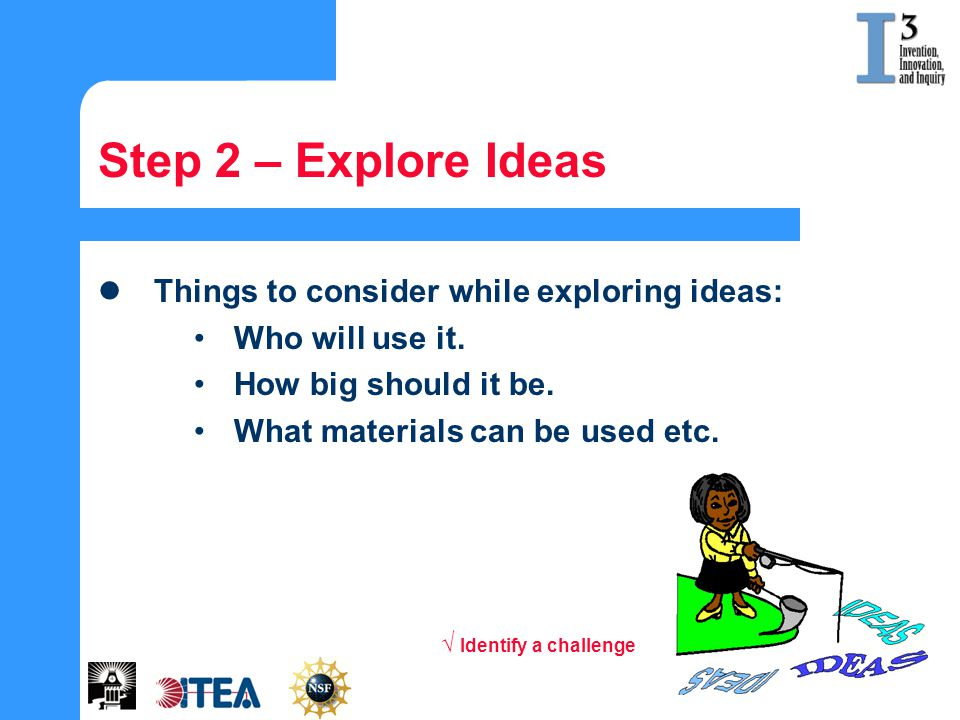 Step 2 – Explore Ideas Things to consider while exploring ideas: