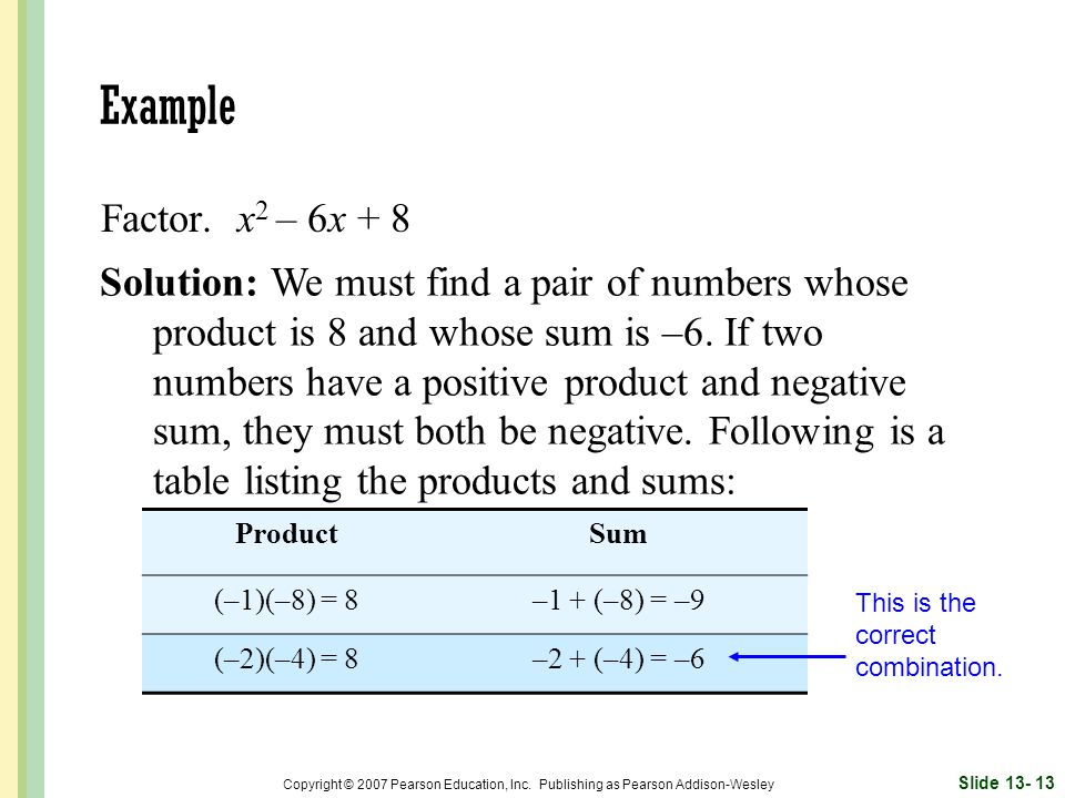 Example Factor. x2 – 6x + 8.