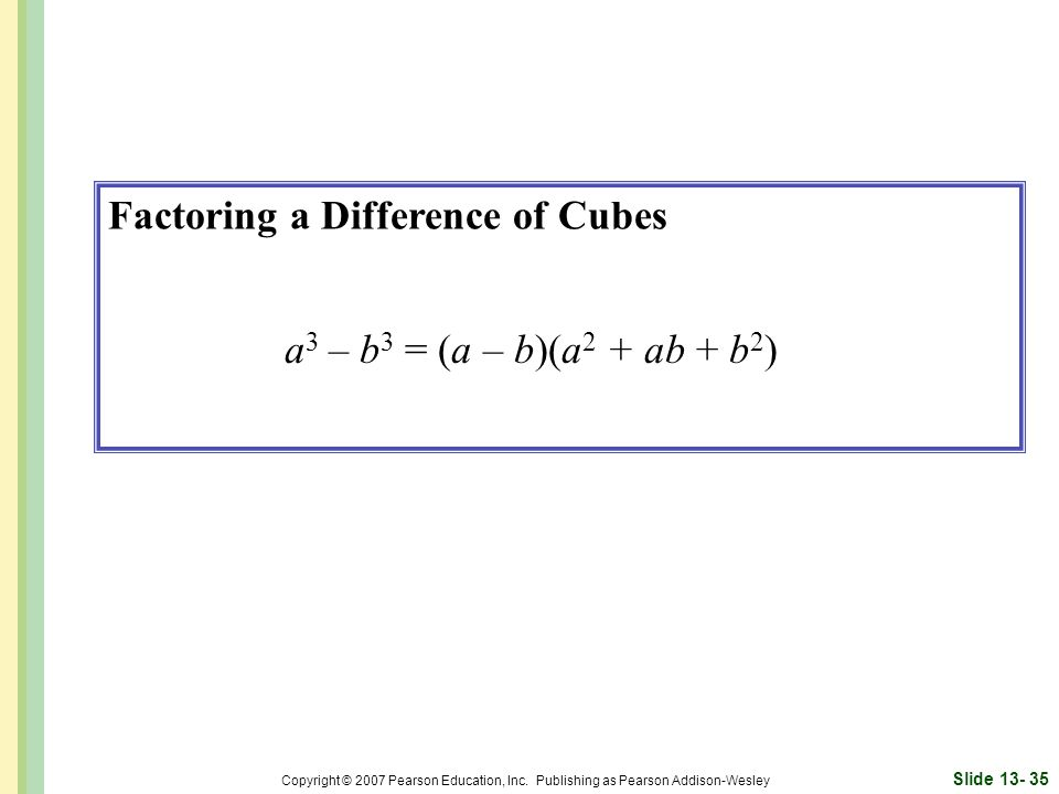 Factoring a Difference of Cubes