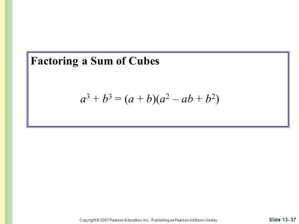 Factoring a Sum of Cubes