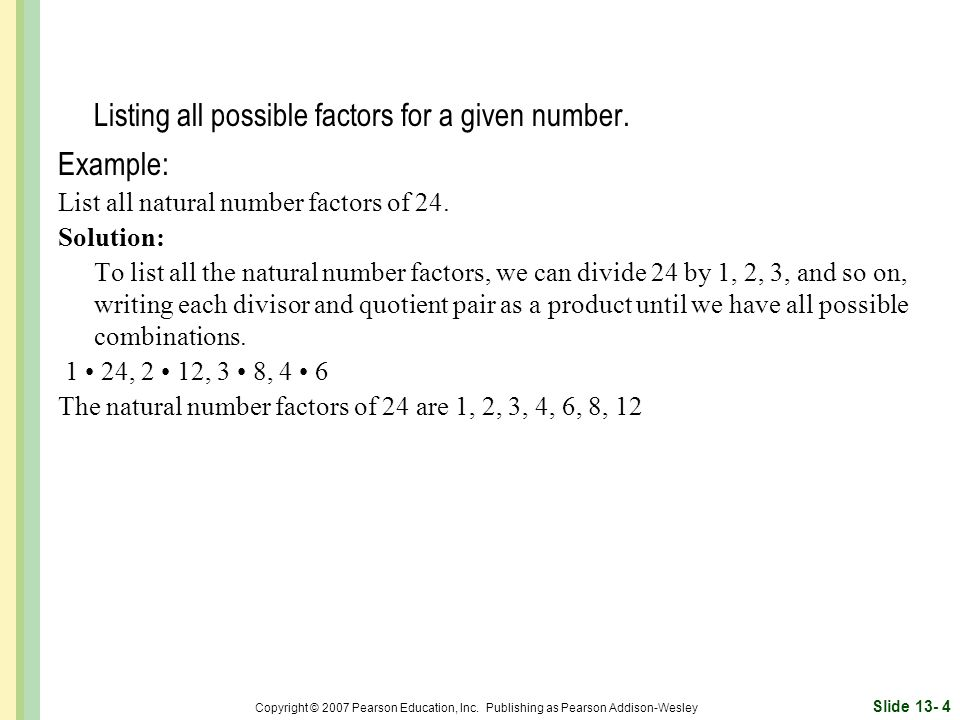 Listing all possible factors for a given number.
