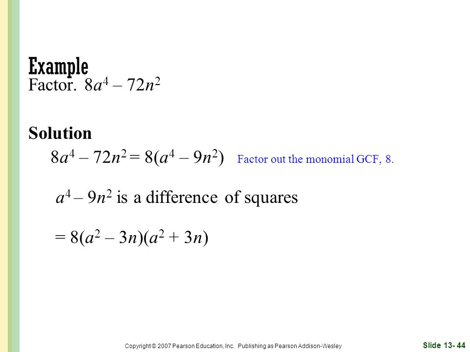 Example Factor. 8a4 – 72n2 Solution