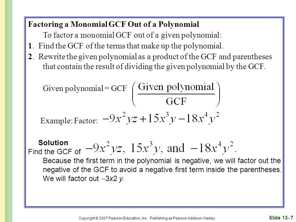 Factoring a Monomial GCF Out of a Polynomial